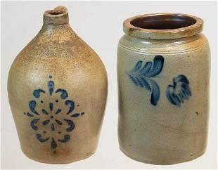 """TWO 19TH C. PENNSYLVANIA STONEWARE PIECESStoneware, """"H."""