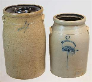 """TWO 19TH C. STONEWARE PIECESDouble handled churn, """"4"""""""