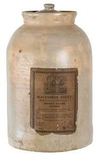RARE 19TH C. STONEWARE CROCKStoneware lidded crock,