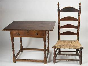 TAVERN TABLE, AND FIRESIDE CHAIR18th c. New England