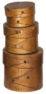 19TH C. HINGHAM MINIATURE BOXESThree nesting pantry