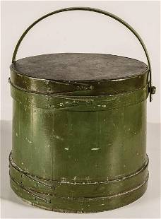 EARLY 19TH C. FIRKINLarge green painted firkin, with
