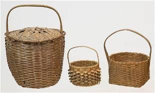 THREE EARLY HOOP HANDLED BASKETSRound basket with