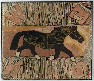 EARLY FOLK ART HOOKED RUGVery fine hooked rug, of a