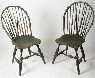 VERY RARE 18TH C. WINDSOR CHAIRSPair of bold 18th c.