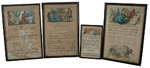 FOUR FRAMED MUSICAL SCORE PLATES18th c. hand-colored
