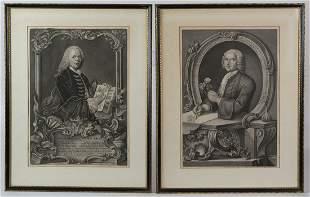 ENGRAVINGS OF EARLY BOTANISTSTwo framed engravings,
