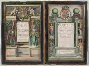 GROUP OF SIX PRINTED FRONTICE PAGESHand-colored pages