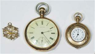 GOLD PIN/NECKLACE, AND POCKET WATCHESMarked 14K gold