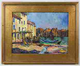 OIL ON BOARD BY GEORGE TURLANDFishing boats in a