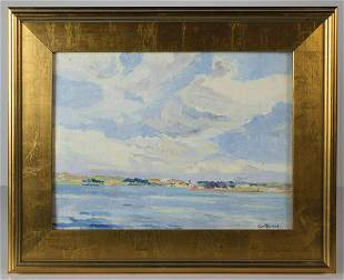 OIL ON CANVAS BOARD BY GEORGE TURLANDOcean shore line,