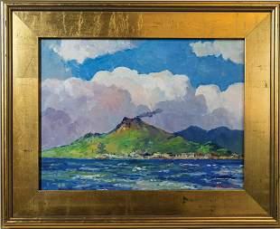 OIL ON BOARD BY GEORGE TURLANDMt. Vesuvius, Italian