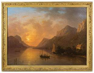 OIL ON CANVAS BY VICTOR DE GRAILLYSunset scene with
