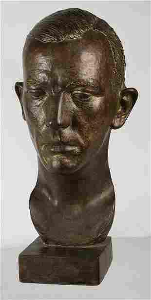 BRONZE SCULPTURAL HEAD (NOEL COWARD)Sculpture signed