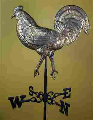 FULL BODIED COPPER ROOSTER WEATHERVANESecond half 19th