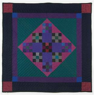 """AMISH CRIB QUILT""""Nine Patch in the Diamond in the"""