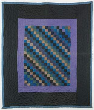"""AMISH CRIB QUILT""""One Patch"""", diagonal diamonds in a"""