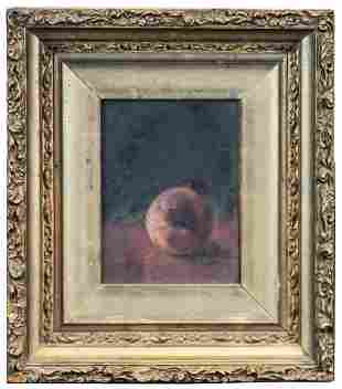 19TH C. STILL LIFEOil on board, peach on a table, in a