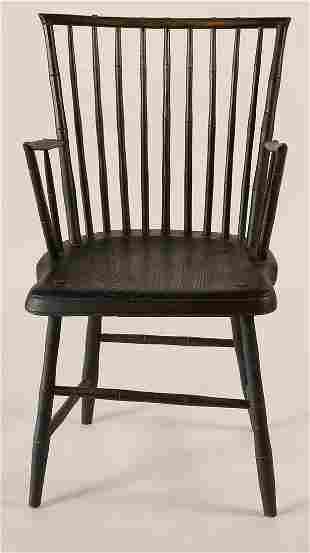 19TH C. ROD BACK ARMCHAIROriginal green/black painted