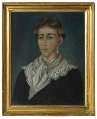 TWO 19TH C. PASTEL PORTRAITSYoung lady with blue eyes,