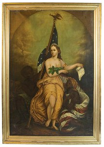 PAINTING OF LADY LIBERTY WITH FLAGExceptional