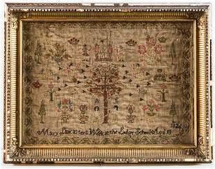 EARLY 19TH C. SAMPLERColorful pictoral needlework