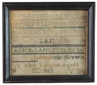 "MID 19TH C. ALPHABET SAMPLER""Alice Langton Aged 8"