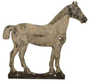 CAST IRON HORSE WINDMILL WEIGHTShort tail horse, worn