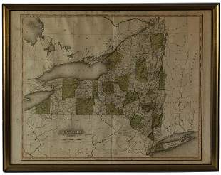 19TH C. MAP OF NEW YORK STATEMap by H.S. Tanner, 1819,