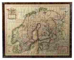 MAP OF NORWAY, SWEDEN1664 map, Hugo Allard artist,
