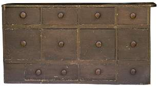 19TH C. APOTHECARY CHESTNew England, pine, ten drawer