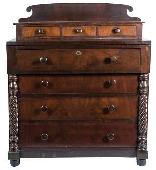 19TH C. EMPIRE BUREAUMahogany and mahogany veneer, with