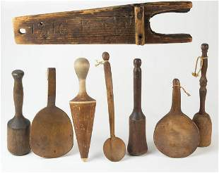 LARGE COLLECTION OF 19TH C. WOODENWAREKitchen objects