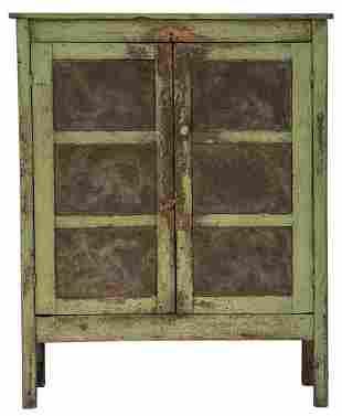 LATE 19TH C. PIE SAFEPoplar, green paint, two-door,
