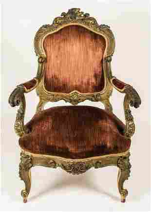 EARLY FRENCH UPHOLSTERED ARMCHAIRLouis XIV style