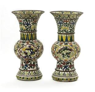 PAIR OF CHINESE EXPORT VASESUnusual late 19th c.