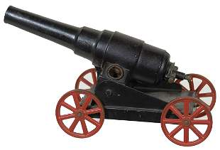 """CAST IRON CANNONBlack and red wheels, """"G. Bang, Co."""","""