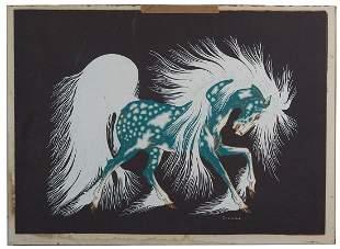 PRINT OF BLUE SPIRIT HORSEWoodrow Wilson Crumbo (Woody