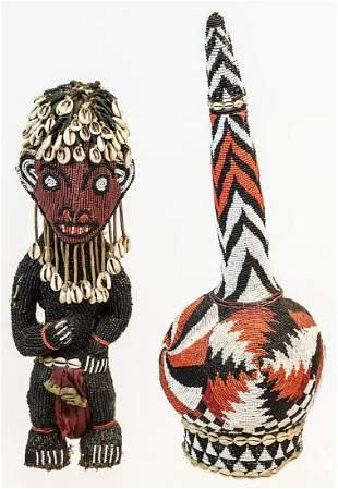 TWO LATE 20TH C. AFRICAN BEADWORK PIECESBlack beaded