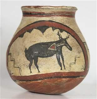 NATIVE AMERICAN PUEBLO JAREarly pottery jar, depicting