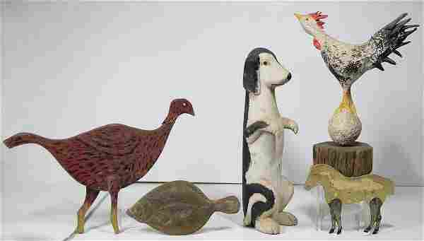 """FOLK ART CARVINGSRooster on a ball; Dog sitting, 20"""" h;"""