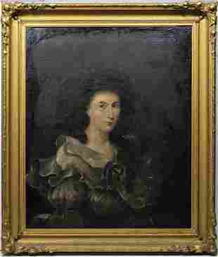 TWO EARLY 19TH C. PORTRAITSPortraits on canvas of Mary