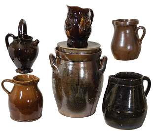BROWN GLAZED POTTERYCollection of six 19th c. brown