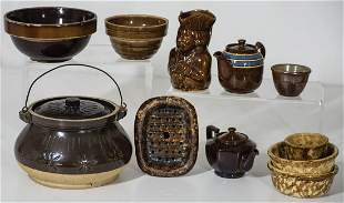 POTTERY BOWLS AND CONTAINERSCollection of nine small