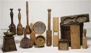 19TH C. KITCHEN WOODEN IMPLEMENTSCollection includes a