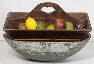CARVED TRAY WITH FRUIT, CHOPPING BOWLPine cutlery tray