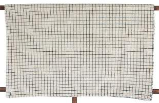 BLANKET Wool, hand woven, blue and white checkered
