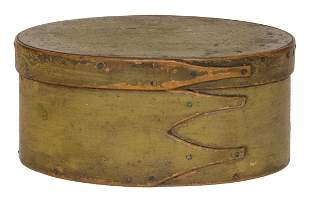 OVAL BOX Maple and pine, original light lime green