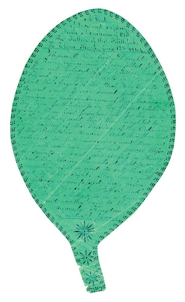 RARE SPIRIT LEAF GIFT MESSAGE Blue ink on paper,