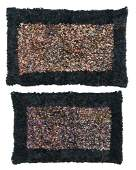 FOUR RARE SILK RUGS Rectangular, bold black borders,